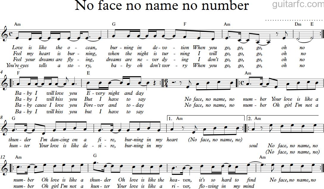 Sheet nhạc hợp âm no face no name no number   guitarfc. Com.