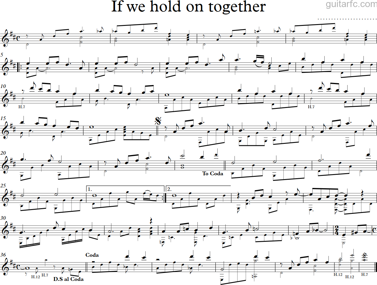 If we hold together - guitar