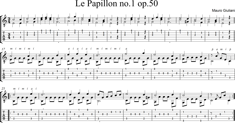 Le Papillon no1 op50 - Mauro Giuliani