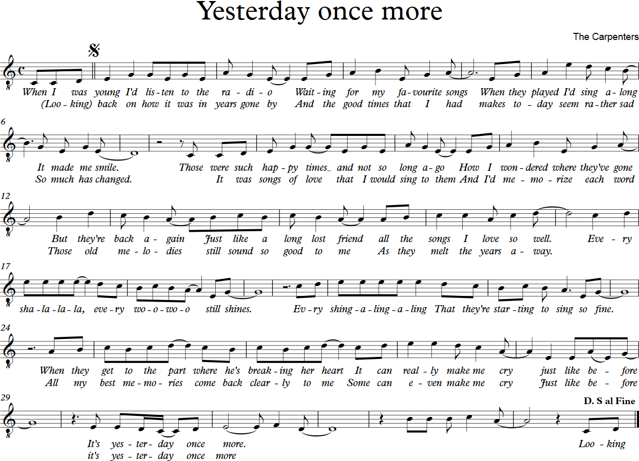 Yesterday once more - no chord
