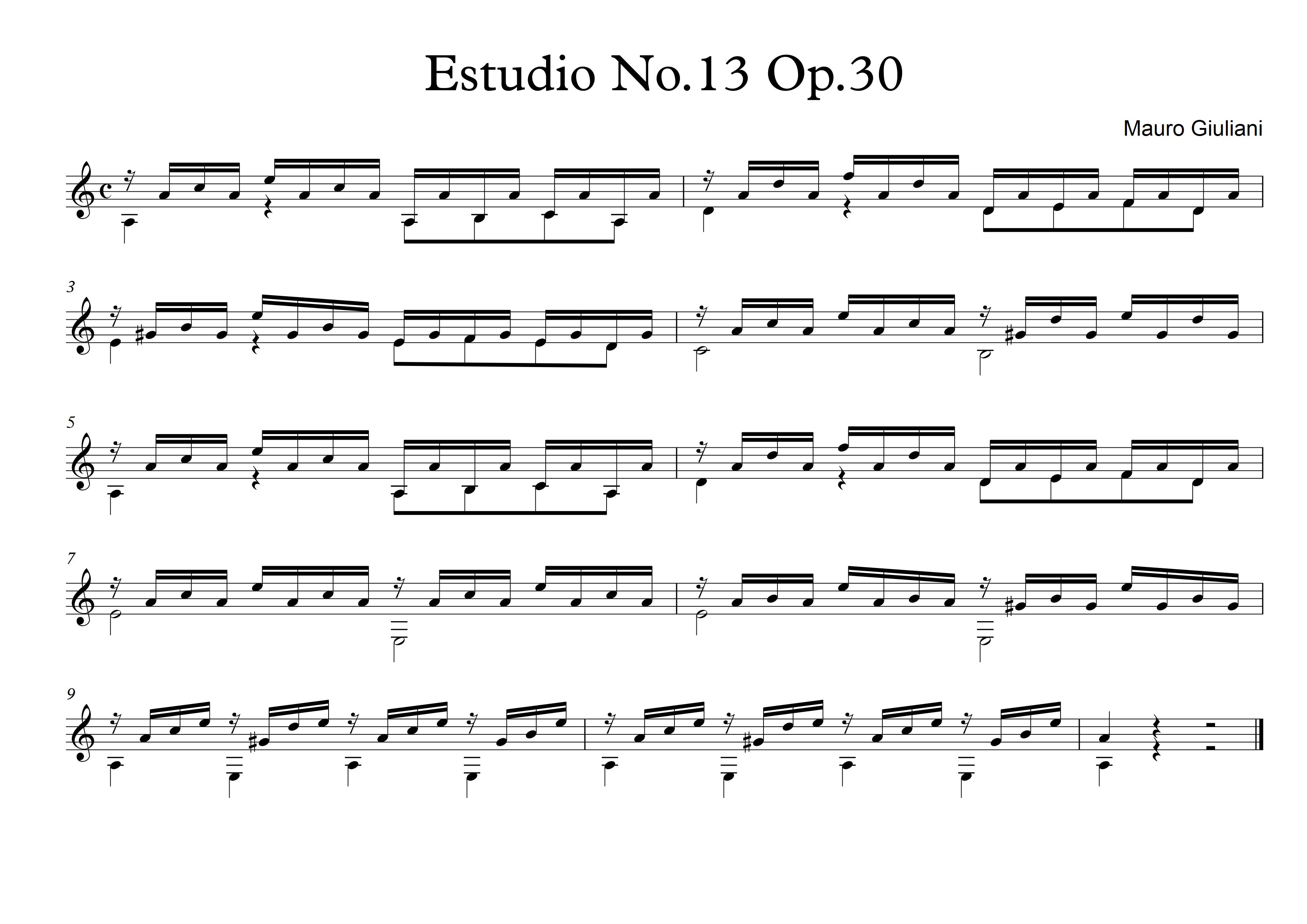 Etude no13 op30 - Mauro Giuliani