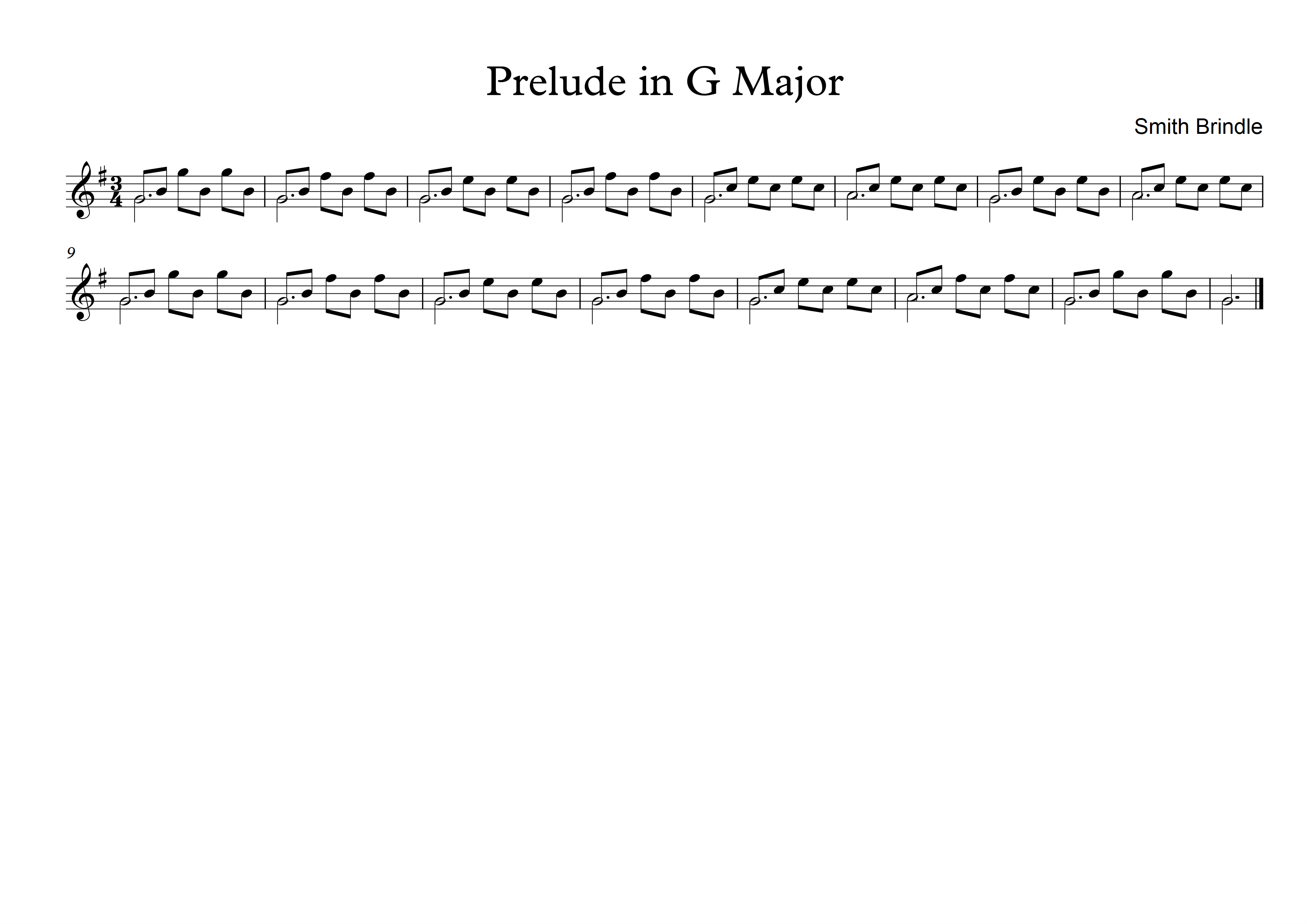 Prelude in G - Smith Brindle